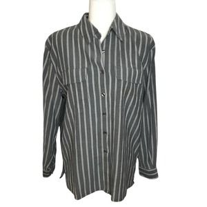 Apparenza Striped Button Down Blouse 3/4 Sleeve